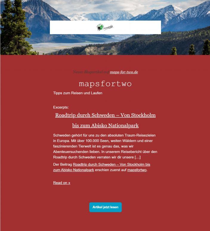 Beispiel erfolgreicher Newsletter mapsfortwo
